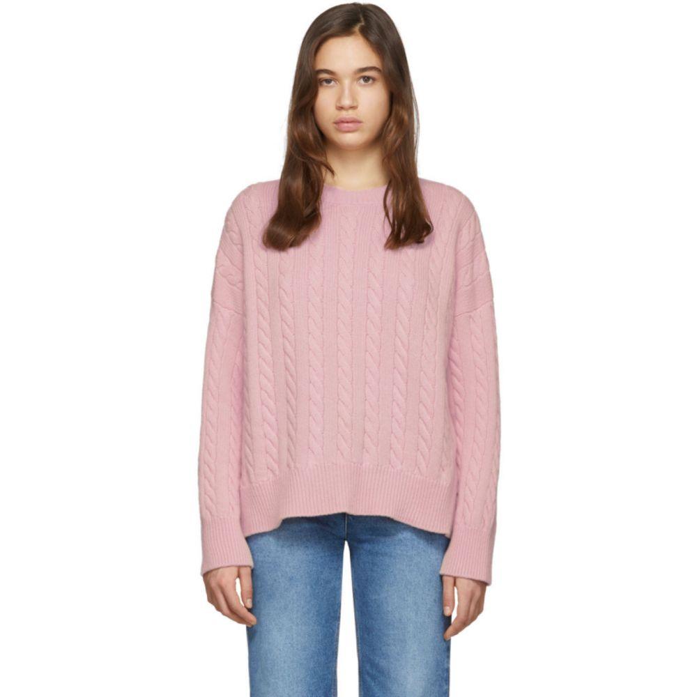 ロエベ Loewe レディース ニット・セーター トップス【Pink Cable Crewneck Sweater】Baby pink
