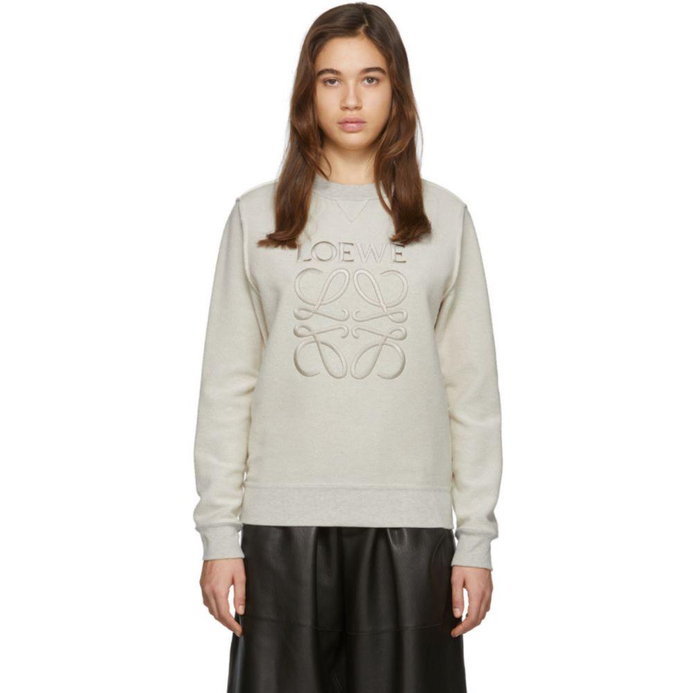 ロエベ Loewe レディース スウェット・トレーナー トップス【Off-White Anagram Sweatshirt】Ecru