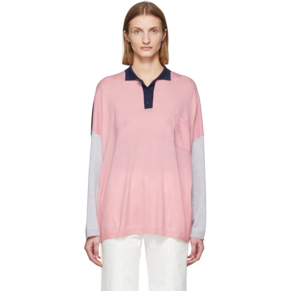 ロエベ Loewe レディース ポロシャツ トップス【Pink & Navy Wool Oversized Long Sleeve Polo】Pink/Navy