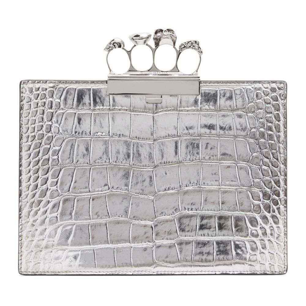 アレキサンダー マックイーン Alexander McQueen レディース クラッチバッグ バッグ【Silver Croc Small Four Ring Clutch】Silver