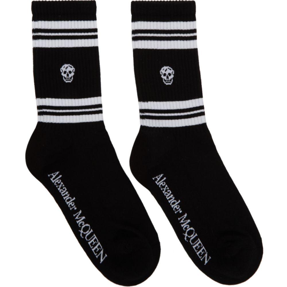 アレキサンダー マックイーン Alexander McQueen レディース ソックス インナー・下着【Black & White Stripe Skull Sport Socks】Black/White
