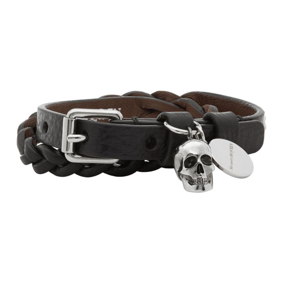 アレキサンダー マックイーン Alexander McQueen メンズ ブレスレット ラップブレス ジュエリー・アクセサリー【Black Braided Leather Wrap Bracelet】Black