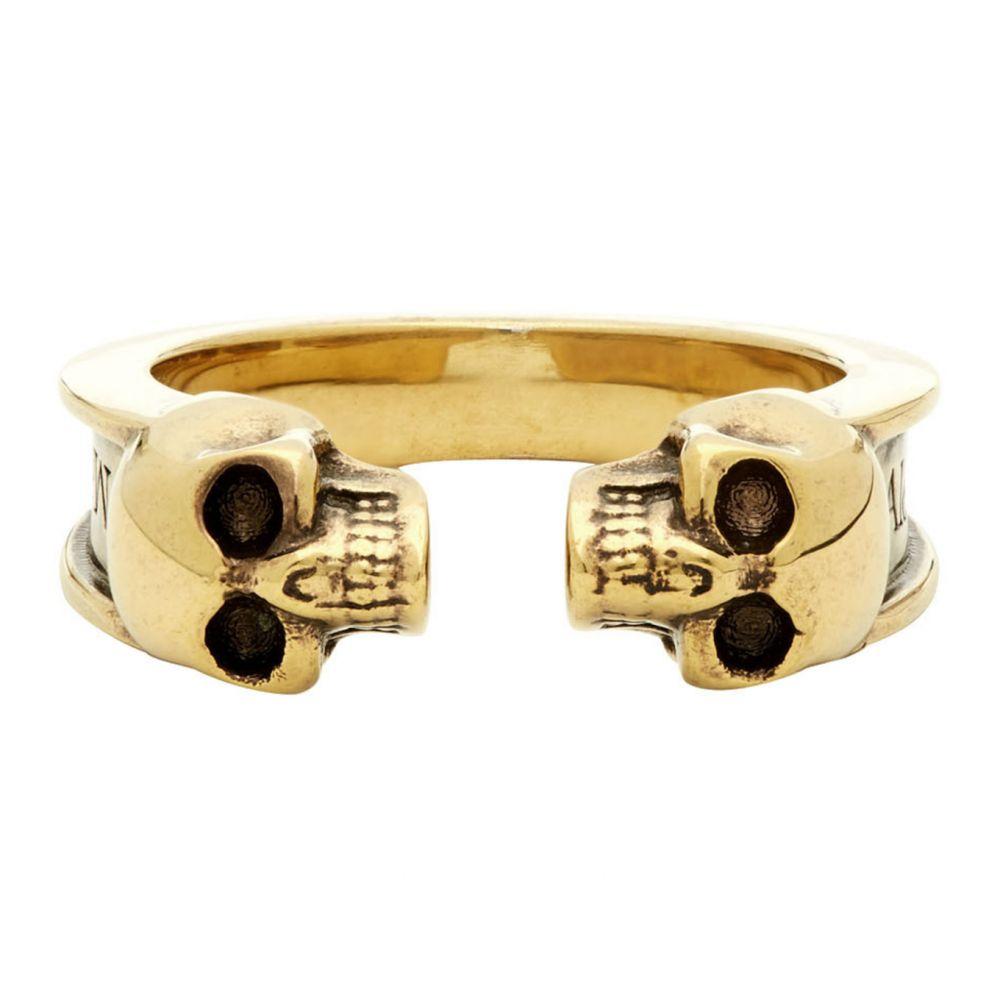 アレキサンダー マックイーン Alexander McQueen メンズ 指輪・リング ジュエリー・アクセサリー【Gold Twin Skull Ring】Antique gold