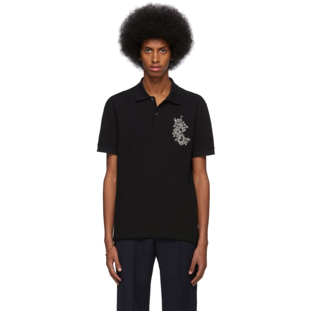 アレキサンダー マックイーン Alexander McQueen メンズ ポロシャツ トップス【Black Embroidered Logo Polo】Black/Mix