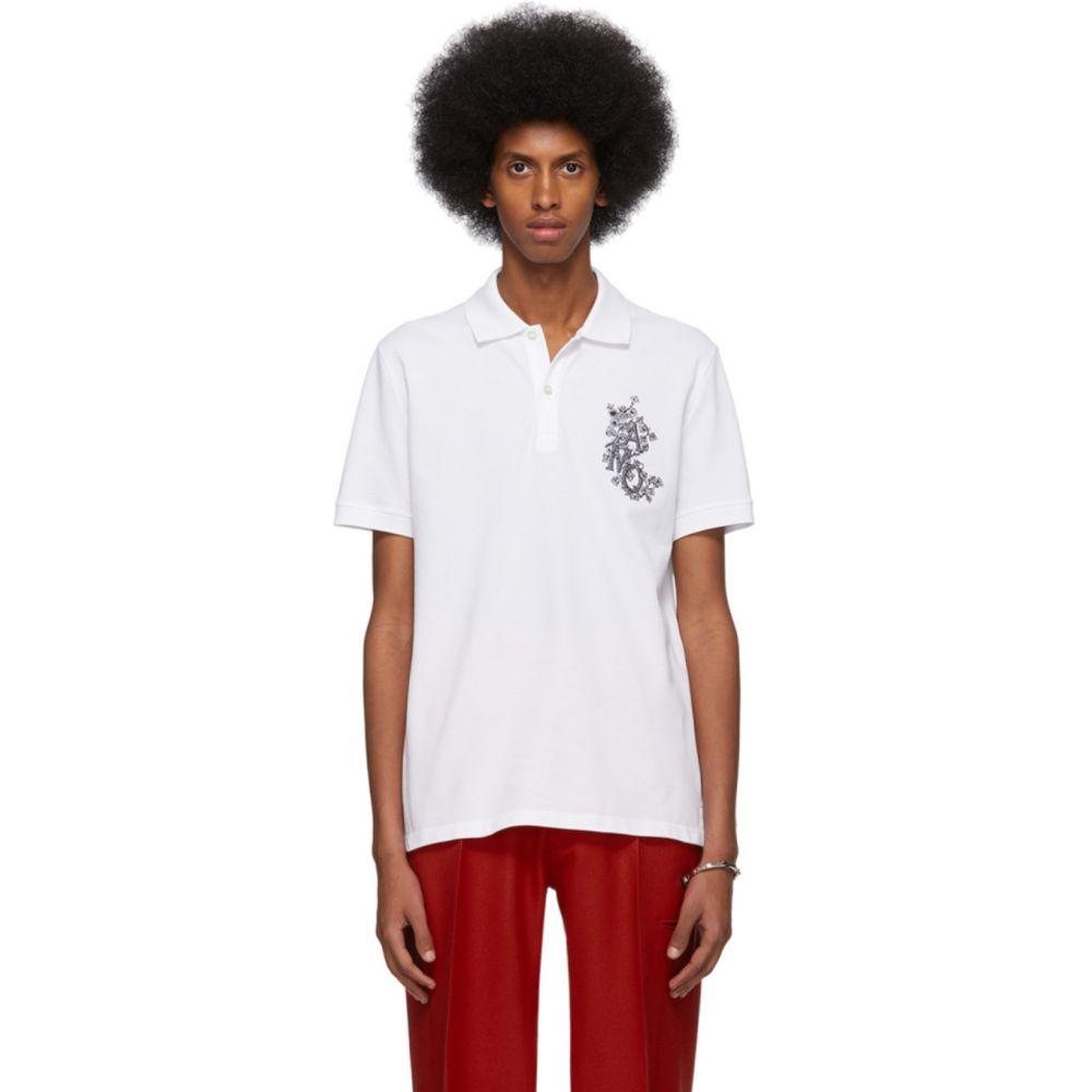 アレキサンダー マックイーン Alexander McQueen メンズ ポロシャツ トップス【White Embroidered Logo Polo】White/Mix