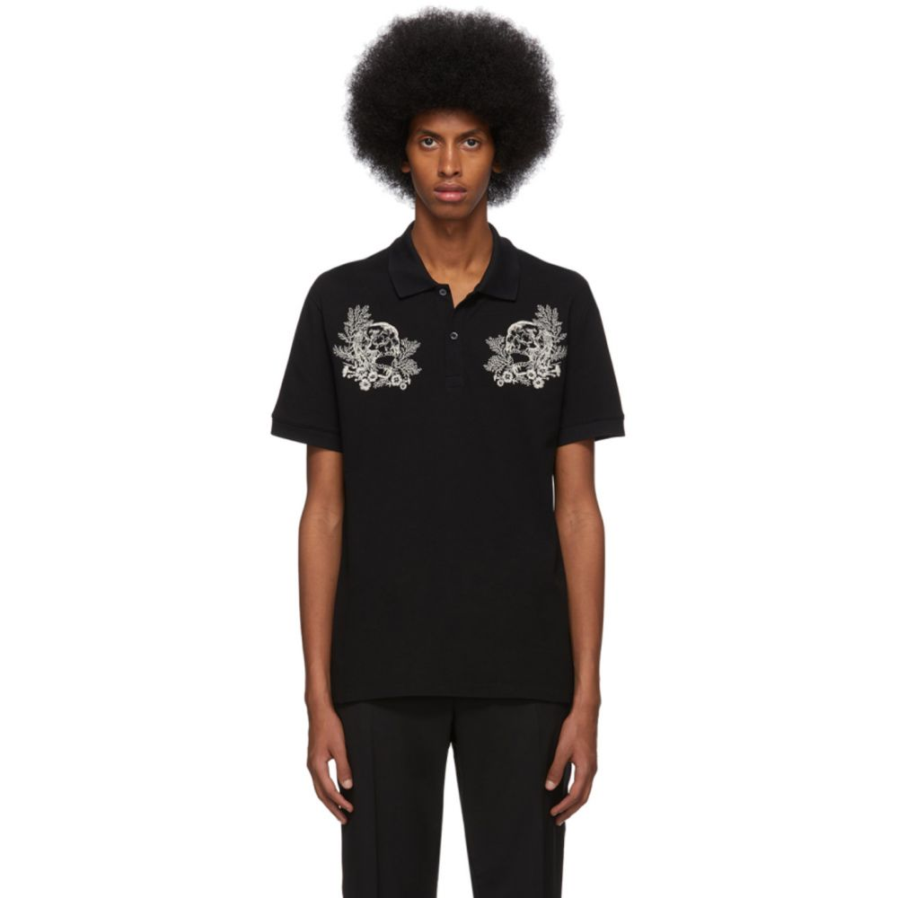 アレキサンダー マックイーン Alexander McQueen メンズ ポロシャツ トップス【Black Embroidered Skulls Polo】Black/Mix