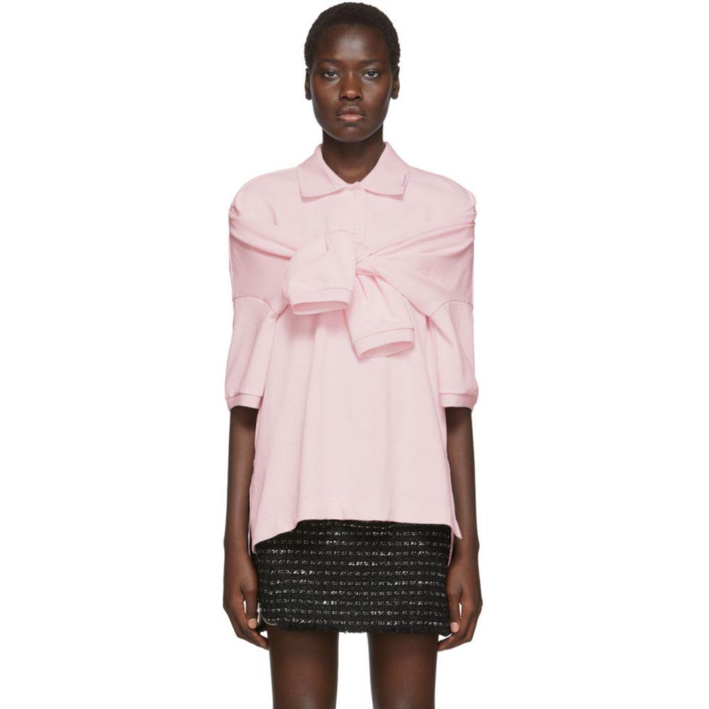 アレキサンダー ワン Alexander Wang レディース ポロシャツ トップス【Pink Tie-Sleeve Polo】Pale pink