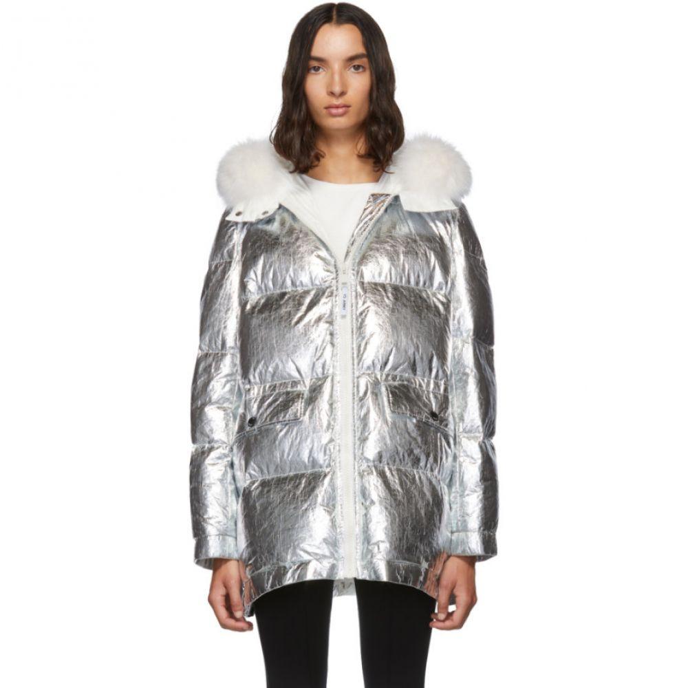 イヴ サロモン Yves Salomon - Army レディース ダウン・中綿ジャケット アウター【Silver Down & Fur Reflective Doudoune Jacket】Silver