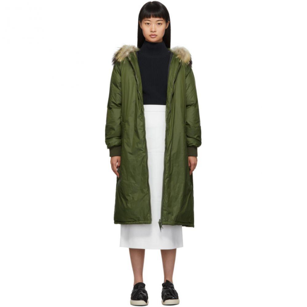 イヴ サロモン Yves Salomon - Army レディース ダウン・中綿ジャケット フード アウター【Green Down & Fur Hooded Coat】Hunter green