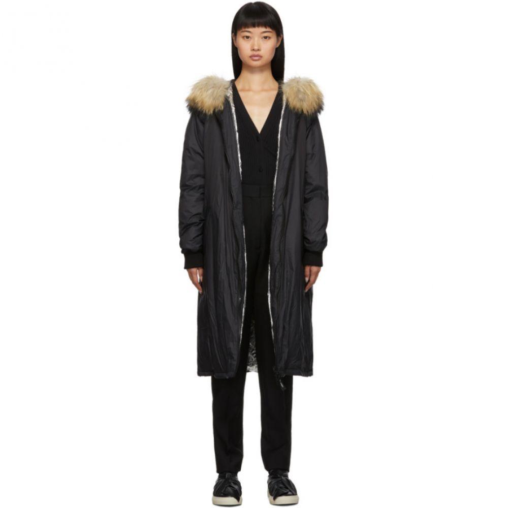 イヴ サロモン Yves Salomon - Army レディース ダウン・中綿ジャケット フード アウター【Black Down & Fur Hooded Coat】Black