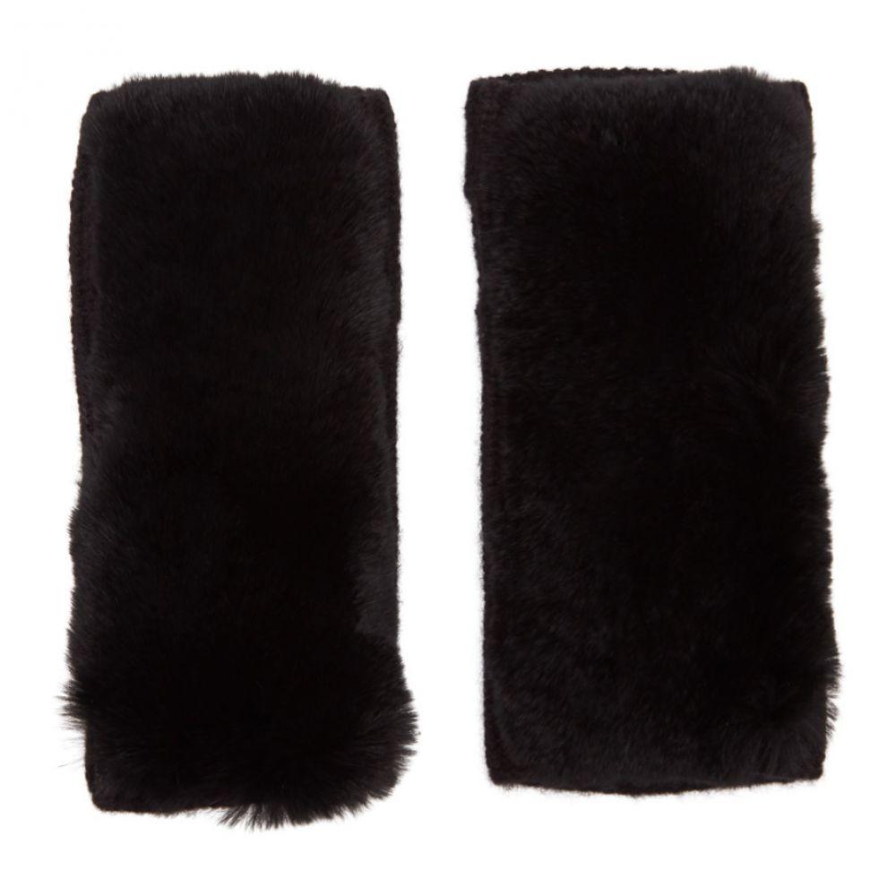イヴ サロモン Yves Salomon レディース 手袋・グローブ 【Black Rex Rabbit Fur & Cashmere Gloves】Noir