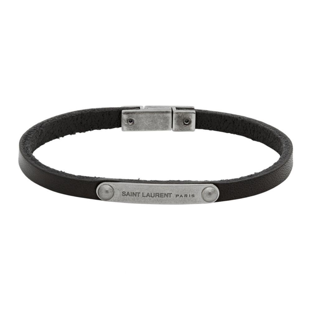 イヴ サンローラン Saint Laurent メンズ ブレスレット ジュエリー・アクセサリー【Black ID Plaque Bracelet】Black
