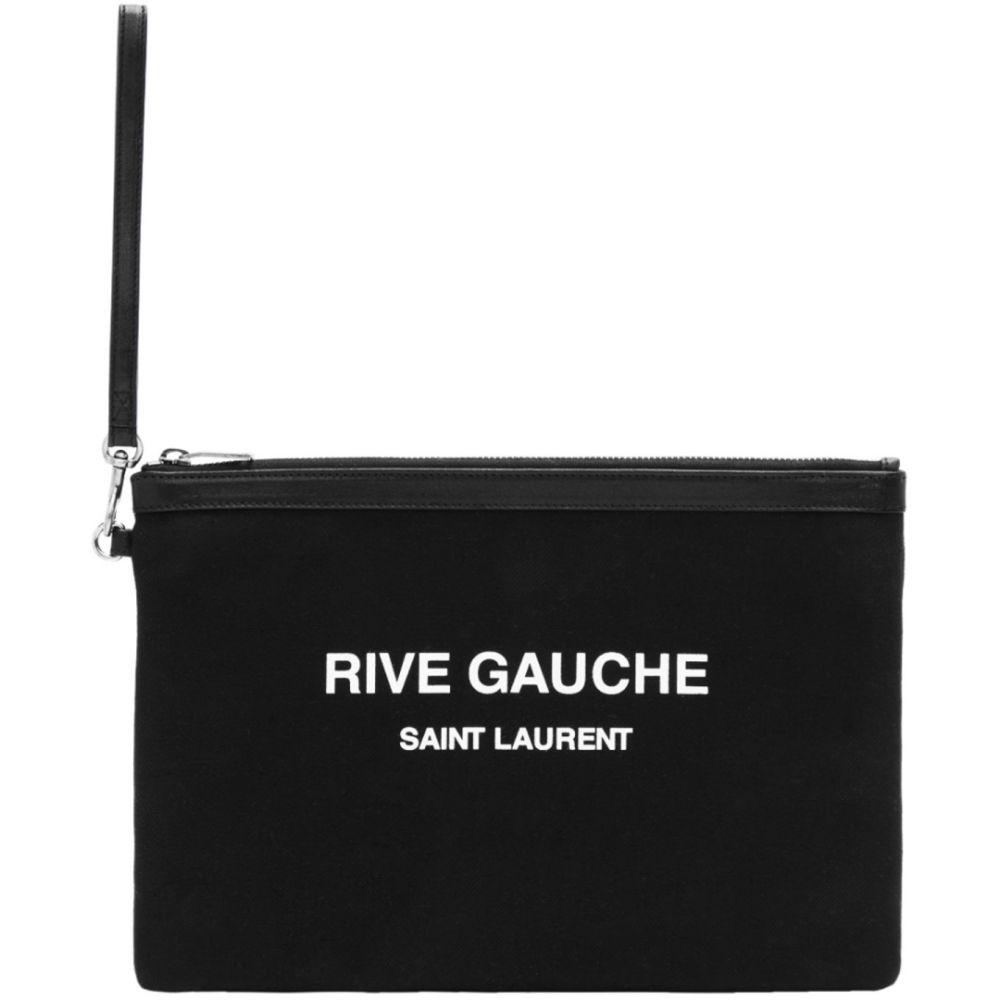イヴ サンローラン Saint Laurent メンズ バッグ 【Black 'Rive Gauche' Canvas Pouch】Black