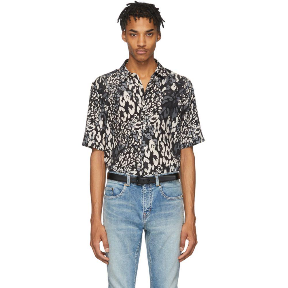 イヴ サンローラン Saint Laurent メンズ シャツ トップス【Black & Grey Silk Leopard Shirt】Black