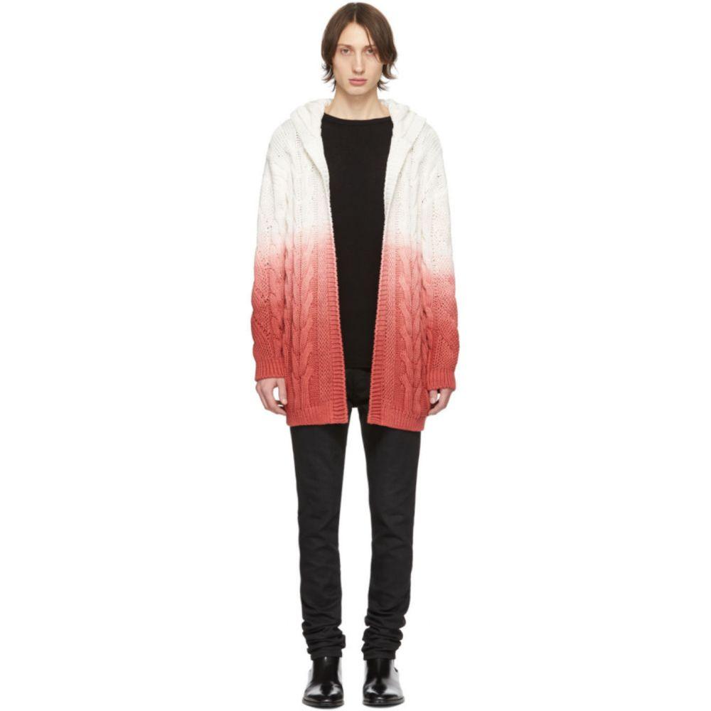 イヴ サンローラン Saint Laurent メンズ カーディガン トップス【White & Pink Baja Hoodie Cardigan】Natural