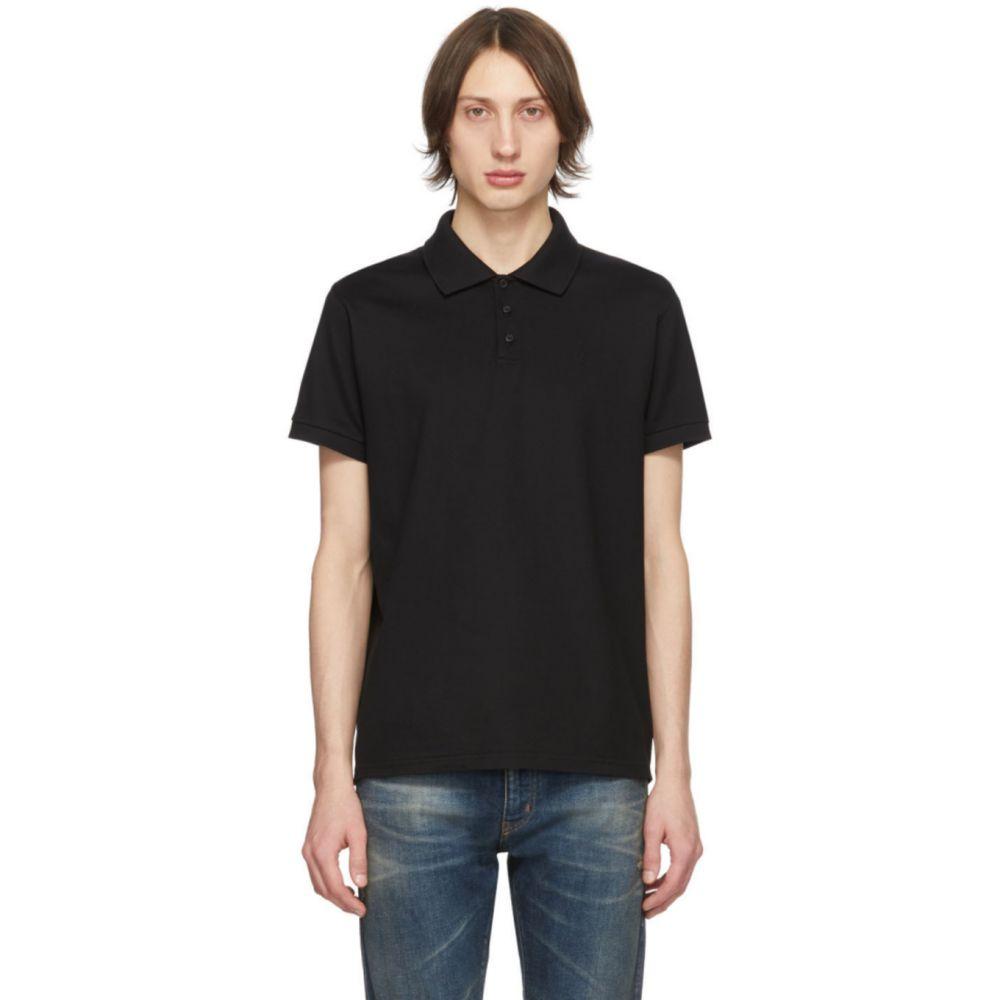 イヴ サンローラン Saint Laurent メンズ ポロシャツ トップス【Black Monogram Polo】Black