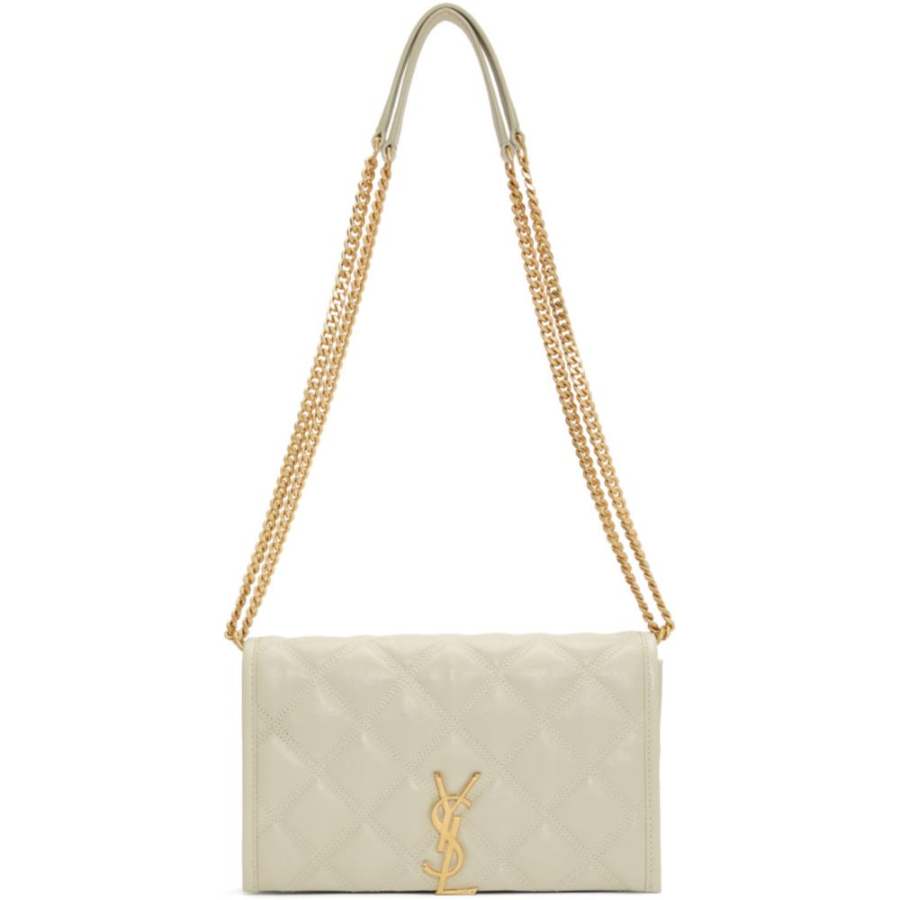 イヴ サンローラン Saint Laurent レディース ショルダーバッグ バッグ【Off-White Becky Chain Wallet Bag】White