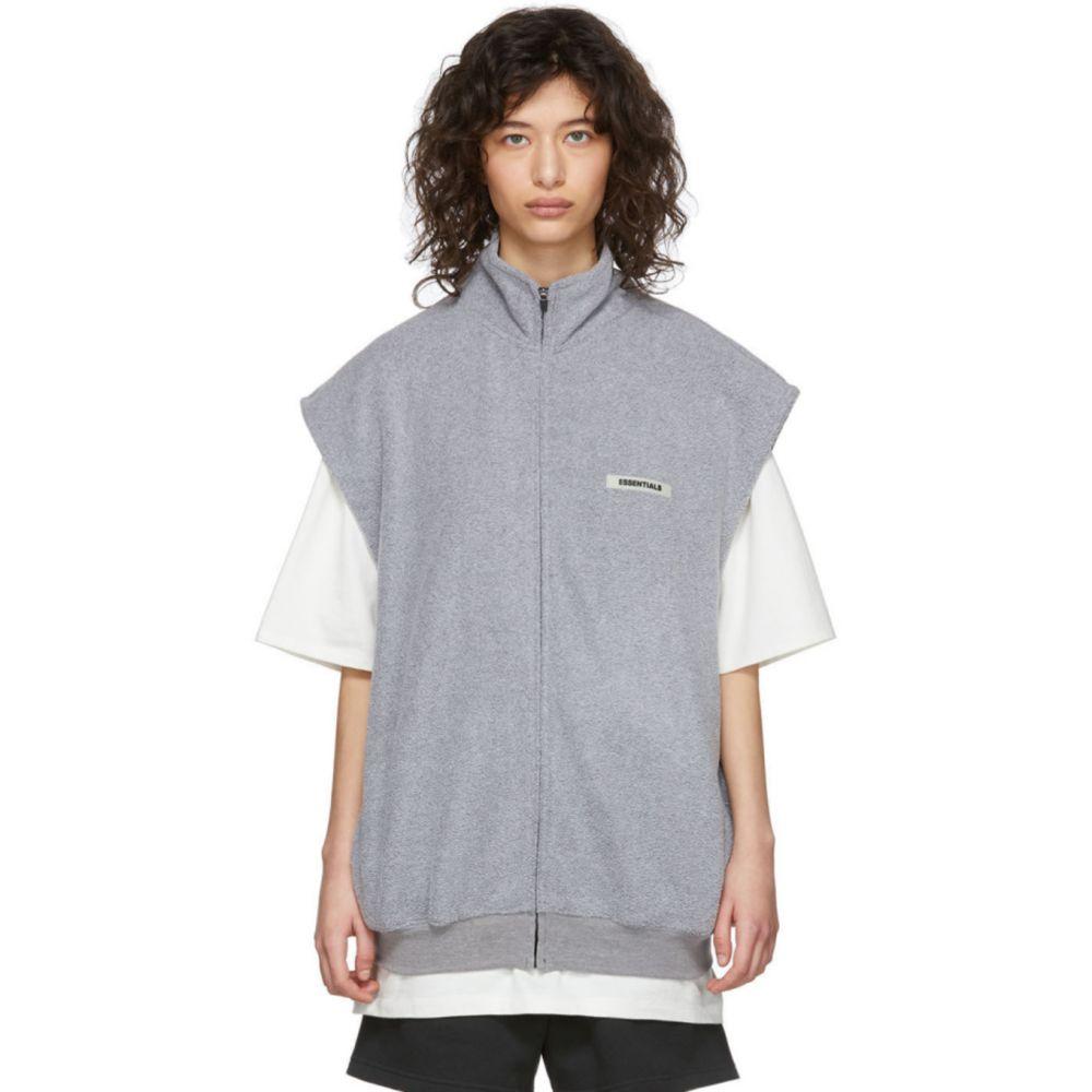 エッセンシャルズ Essentials レディース ベスト・ジレ トップス【Grey Polar Fleece Vest】Grey
