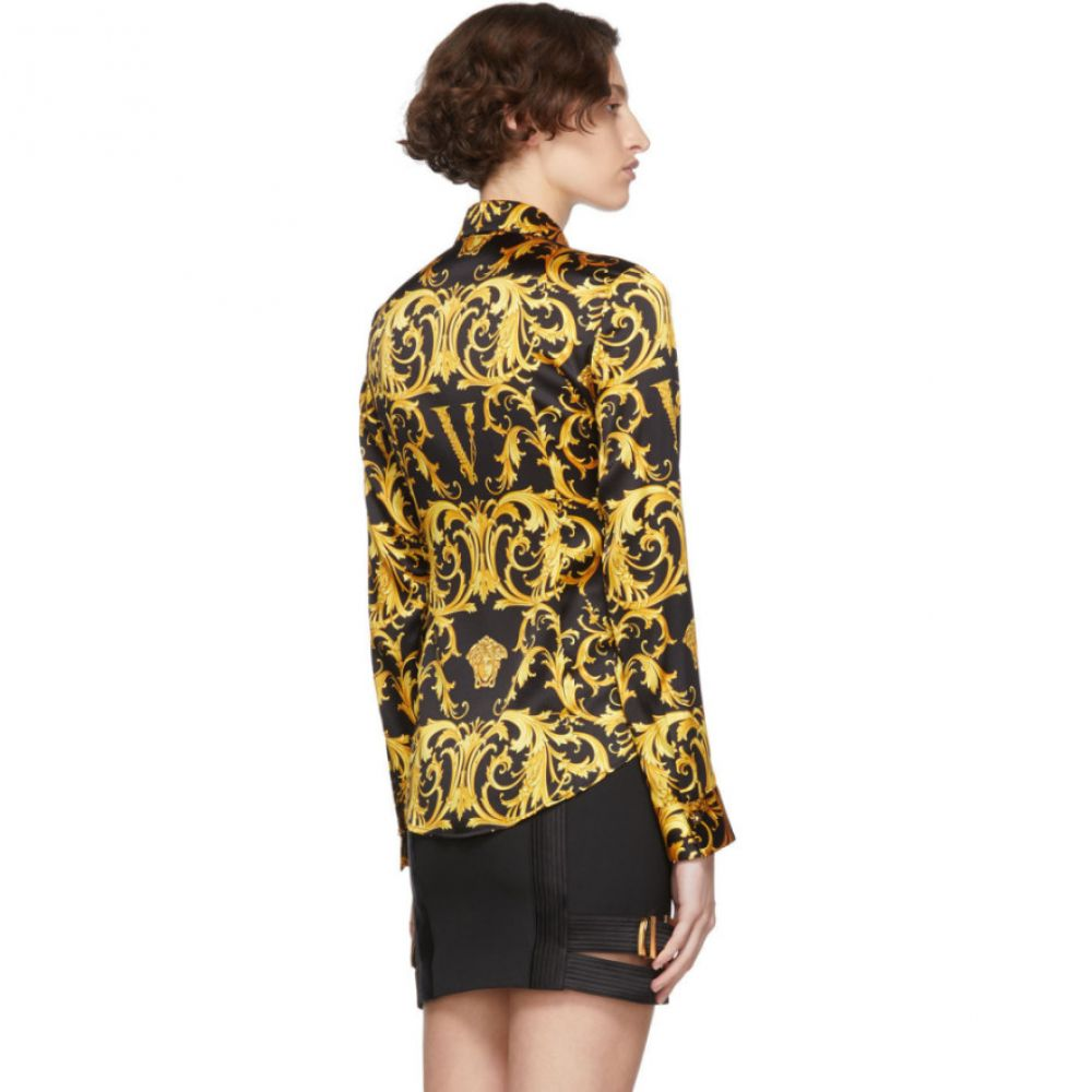 ヴェルサーチ Versace レディース ブラウス・シャツ トップス Black 'V' Baroque Shirt BlackxsthQrCd
