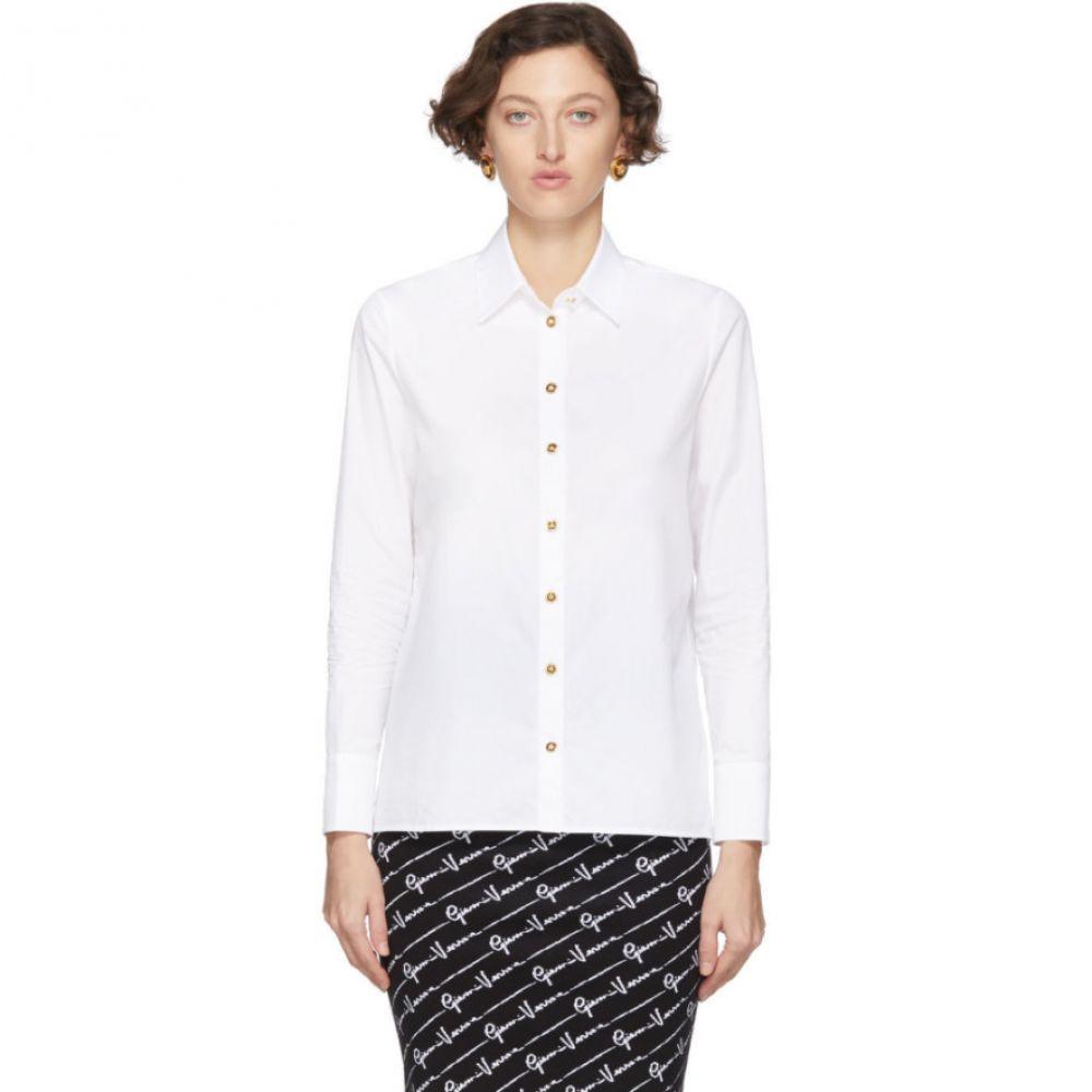 ヴェルサーチ Versace レディース ブラウス・シャツ メデューサ トップス【White Poplin Medusa Shirt】White