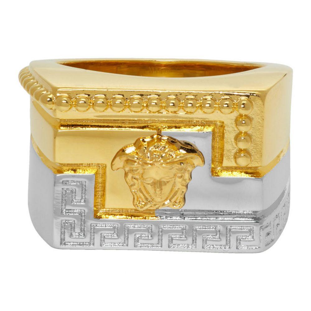 ヴェルサーチ Versace メンズ 指輪・リング ジュエリー・アクセサリー【Gold & Silver Meander Ring】Gold/Silver