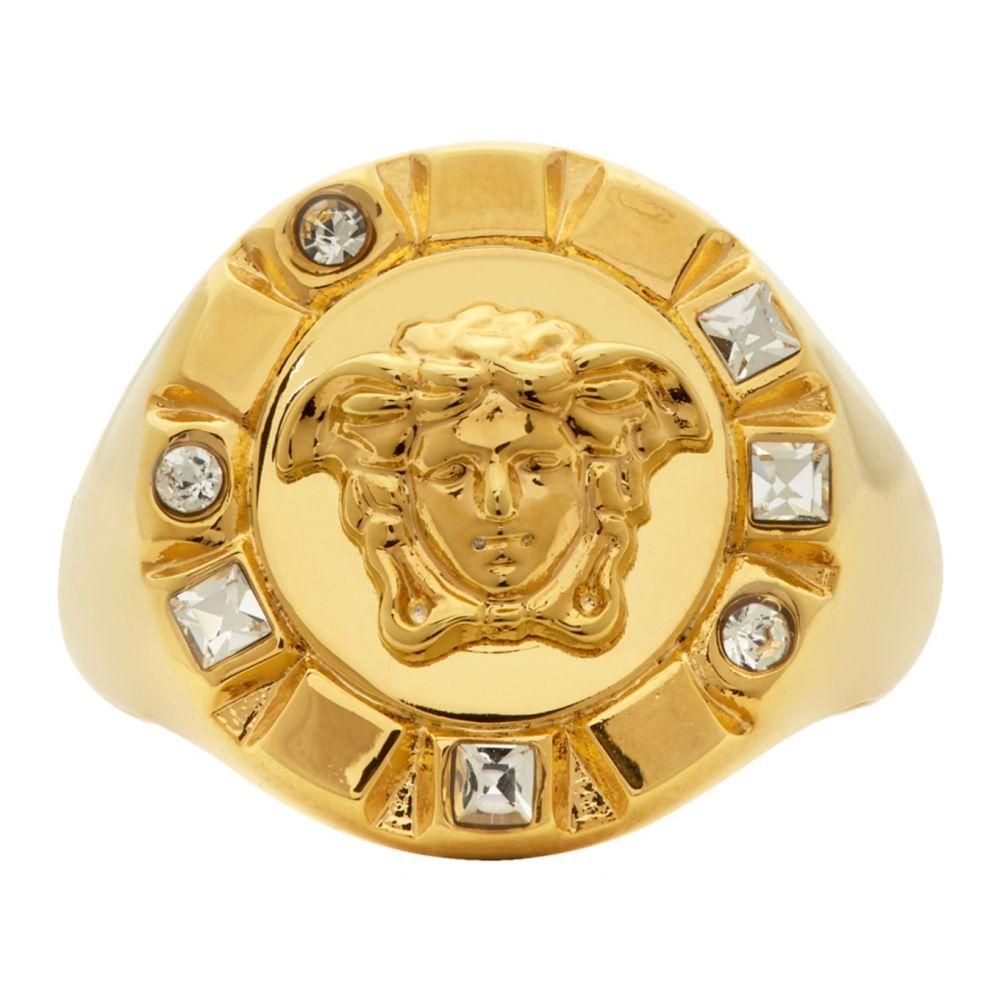 ヴェルサーチ Versace メンズ 指輪・リング メデューサ ジュエリー・アクセサリー【Gold Palazzo Crystal Medusa Round Ring】Gold