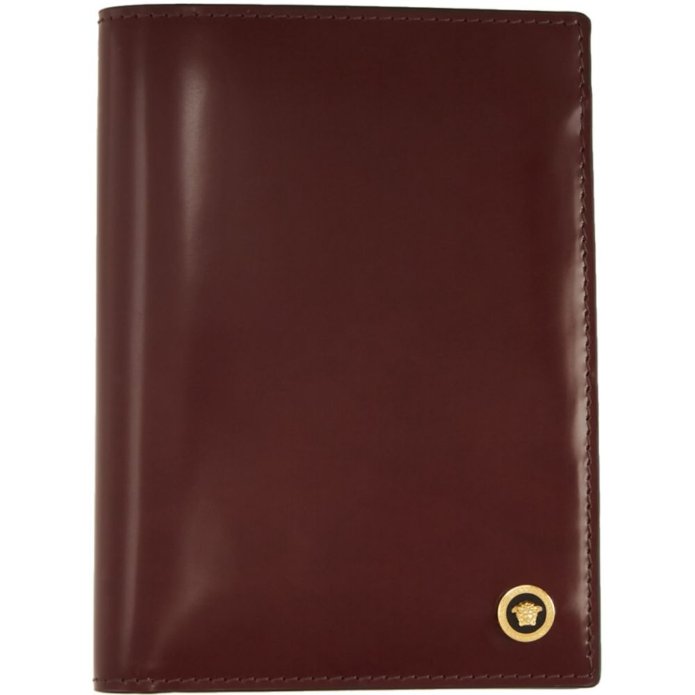 ヴェルサーチ Versace メンズ パスポートケース メデューサ【Burgundy Patent Medusa Passport Holder】Burgundy
