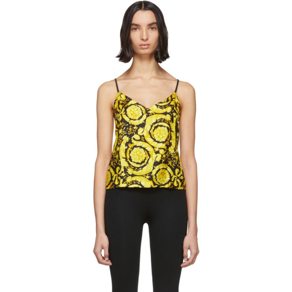ヴェルサーチ Versace Underwear レディース タンクトップ トップス【Multicolor Silk Baroque Tank Top】Black