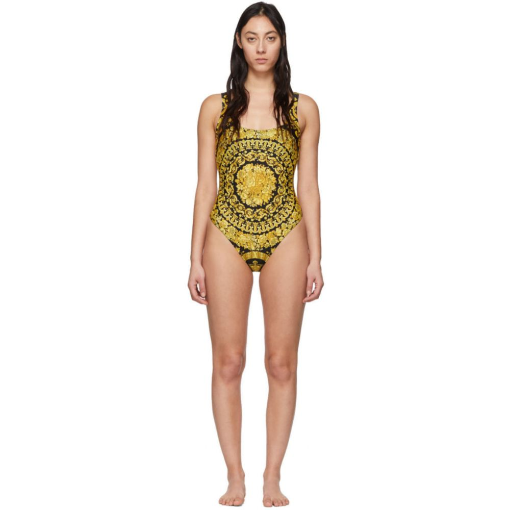 ヴェルサーチ Versace Underwear レディース ワンピース 水着・ビーチウェア【Black & Yellow Barocco One-Piece Swimsuit】Multicolor