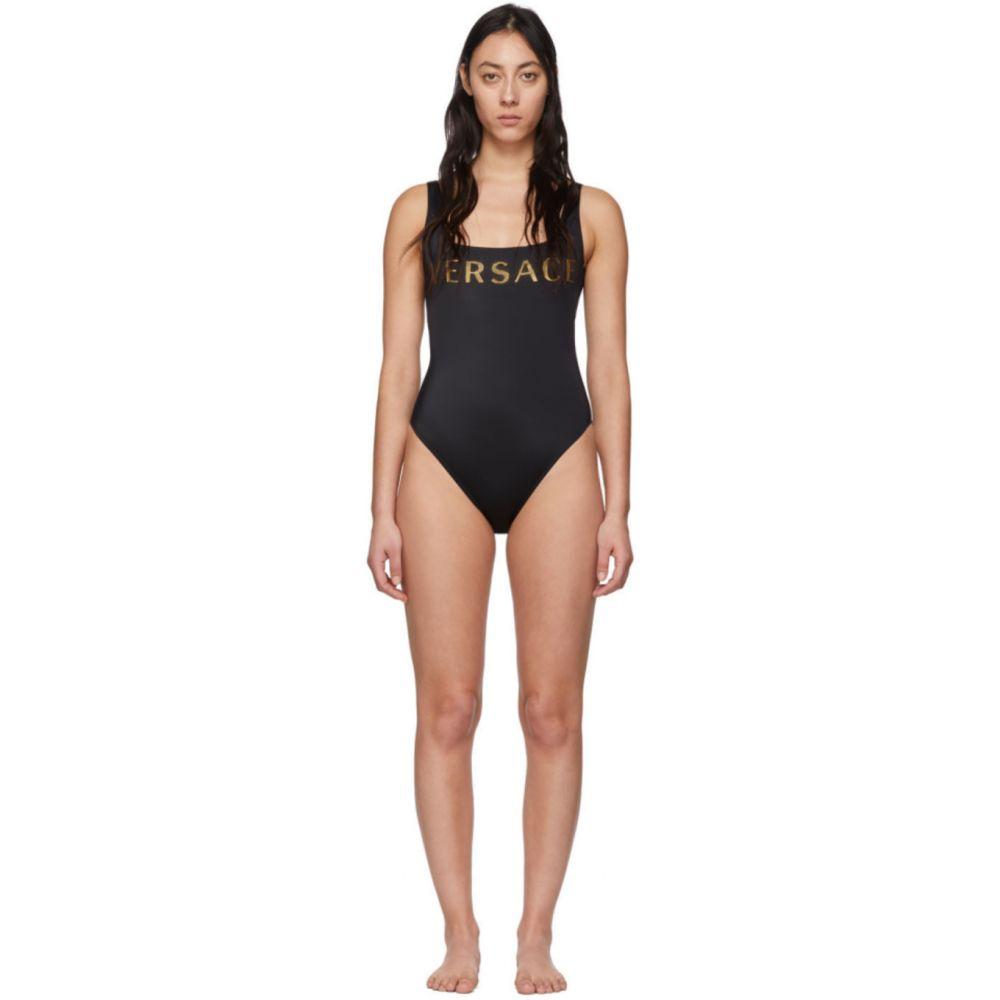 ヴェルサーチ Versace Underwear レディース ワンピース 水着・ビーチウェア【Black Logo One-Piece Swimsuit】Black