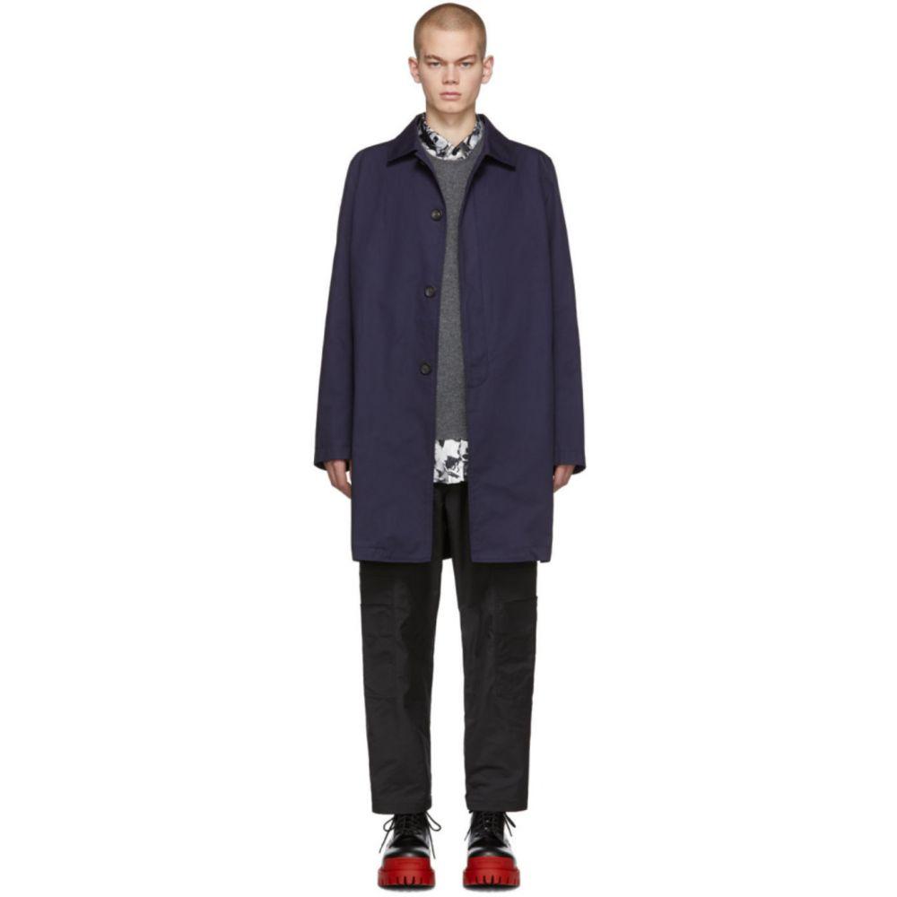ランバン Lanvin メンズ コート アウター【Navy Gabardine Mackintosh Coat】Ink blue