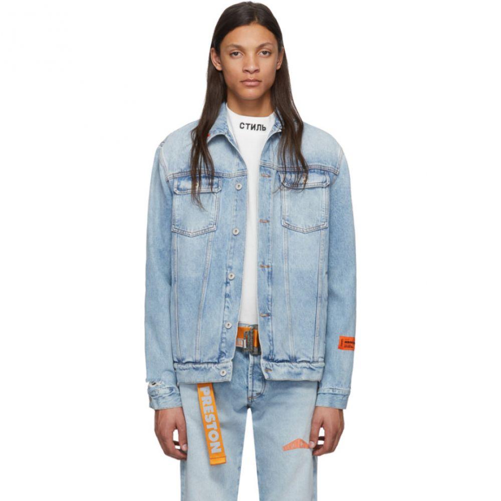 ヘロン プレストン Heron Preston メンズ ジャケット Gジャン アウター【Blue Denim Vintage Jacket】Vintage wash/Orange
