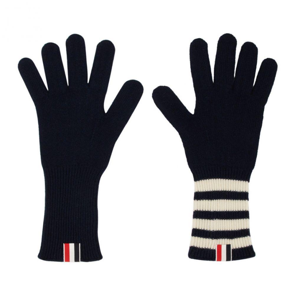 トム ブラウン Thom Browne メンズ 手袋・グローブ 【Navy 4-Bar Rib Gloves】Navy
