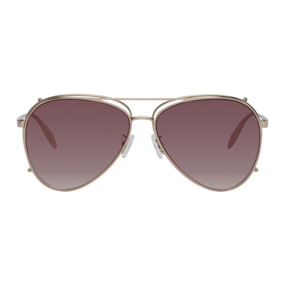 アレキサンダー マックイーン Alexander McQueen メンズ メガネ・サングラス アビエイター【Gold Aviator Clip-On Sunglasses】Gold