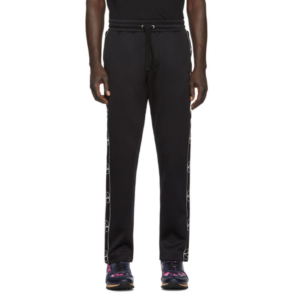 ヴァレンティノ Valentino メンズ スウェット・ジャージ ボトムス・パンツ【Black Jersey Logo Lounge Pants】Black