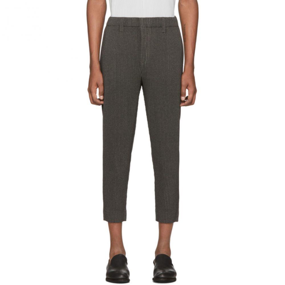イッセイ ミヤケ Homme Plisse Issey Miyake メンズ スラックス ボトムス・パンツ【Grey Wool-Like Light Trousers】Dark grey