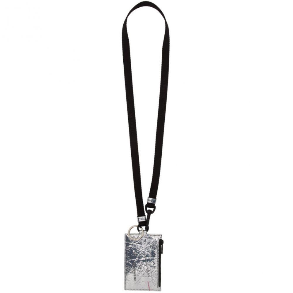 アレキサンダー マックイーン Alexander McQueen メンズ カードケース・名刺入れ カードホルダー ネックストラップ【Silver Patent Lanyard Card Holder】Silver/Black