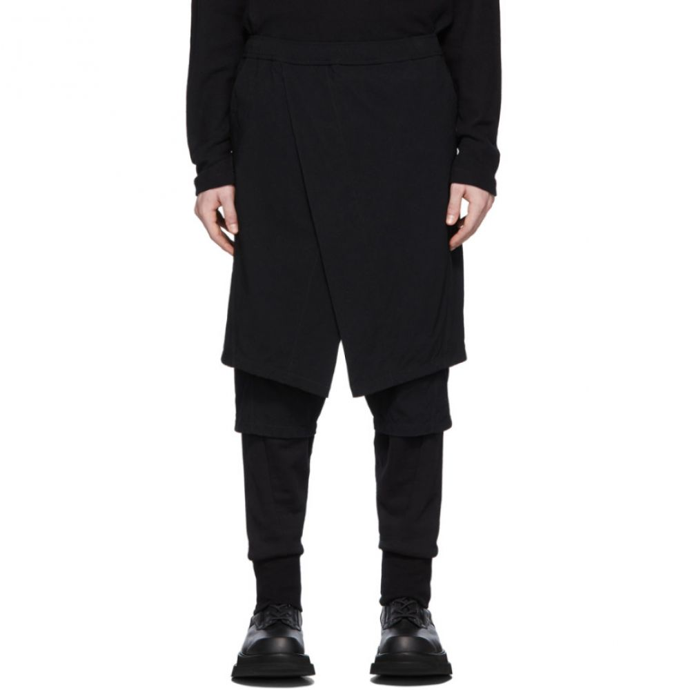 ユリウス Julius メンズ ボトムス・パンツ 【Black Contrast Layered Trousers】Black