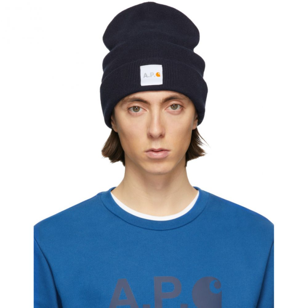 アーペーセー A.P.C. メンズ ニット ビーニー 帽子【Navy Carhartt WIP Edition Watchover Beanie】Dark navy