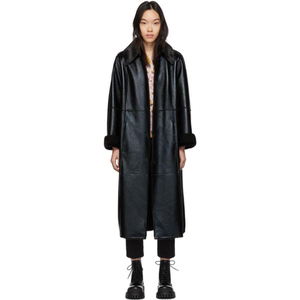 スタンドスタジオ Stand Studio レディース コート アウター【Black Faux-Leather Nino Coat】Black