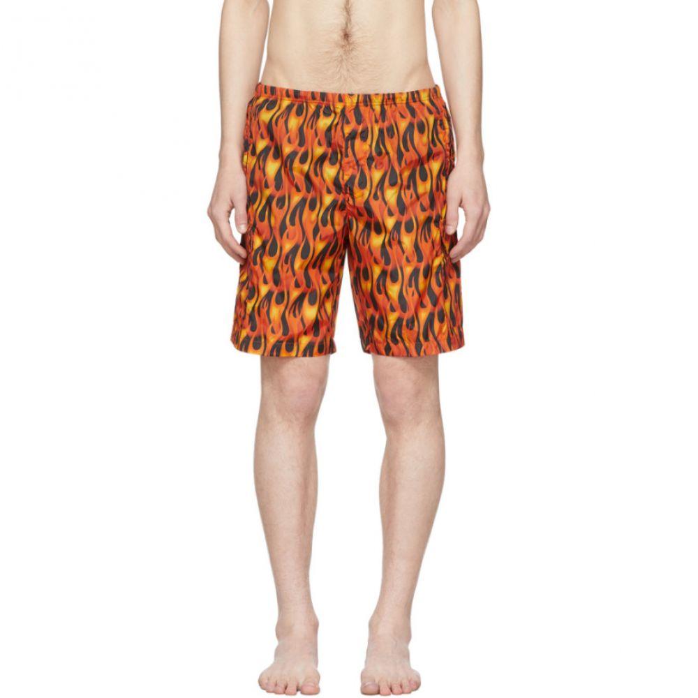 パーム エンジェルス Palm Angels メンズ 海パン ショートパンツ 水着・ビーチウェア【Black & Multicolor Flames Swim Shorts】Black/Multicolor