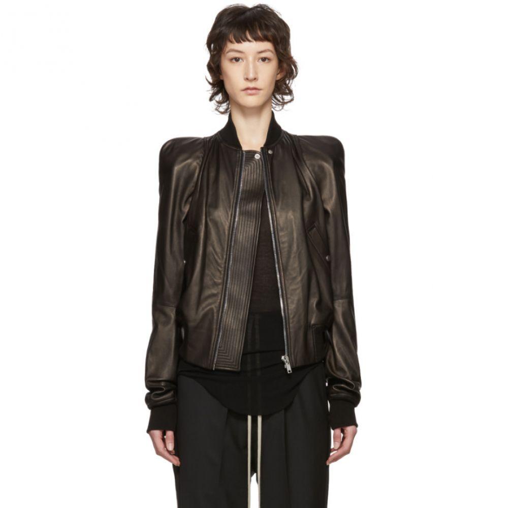 リック オウエンス Rick Owens レディース レザージャケット アウター【Black Leather Zionic Jacket】Black