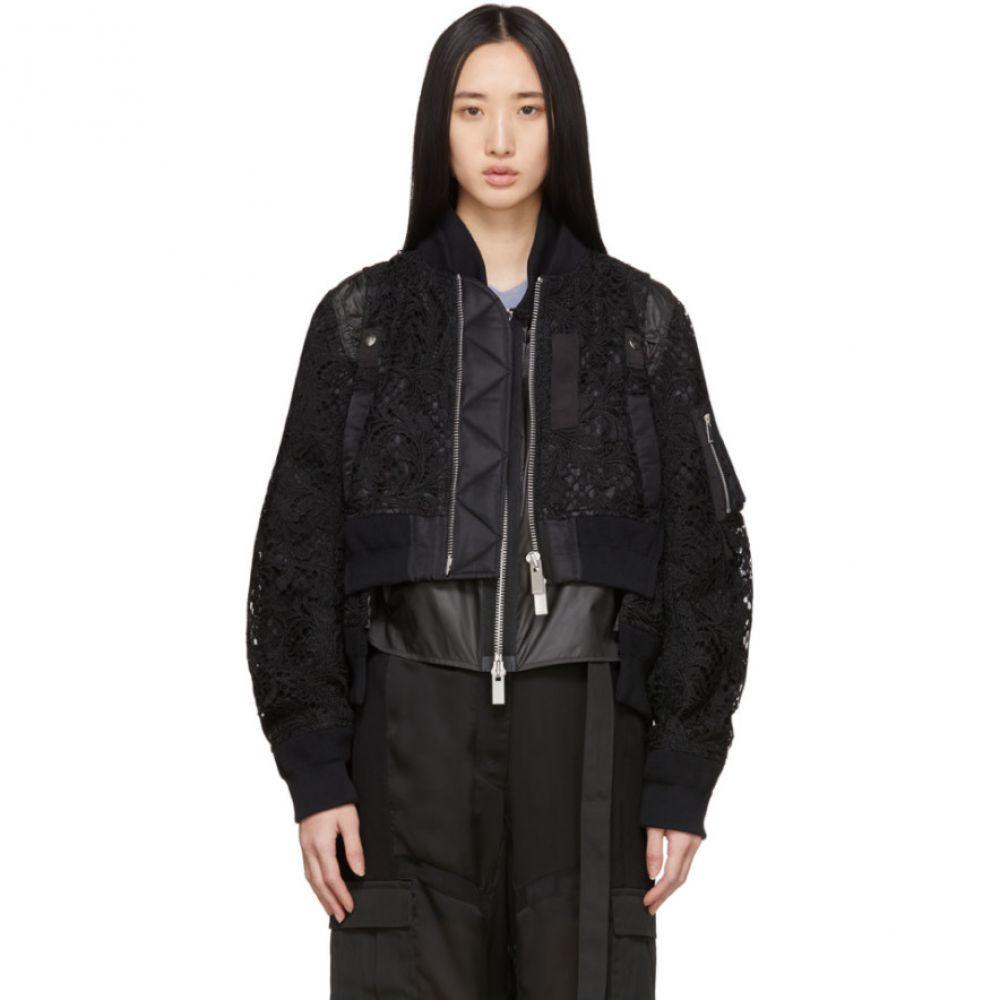 サカイ Sacai レディース ブルゾン ミリタリージャケット アウター【Black Embroidered Lace Bomber Jacket】Black