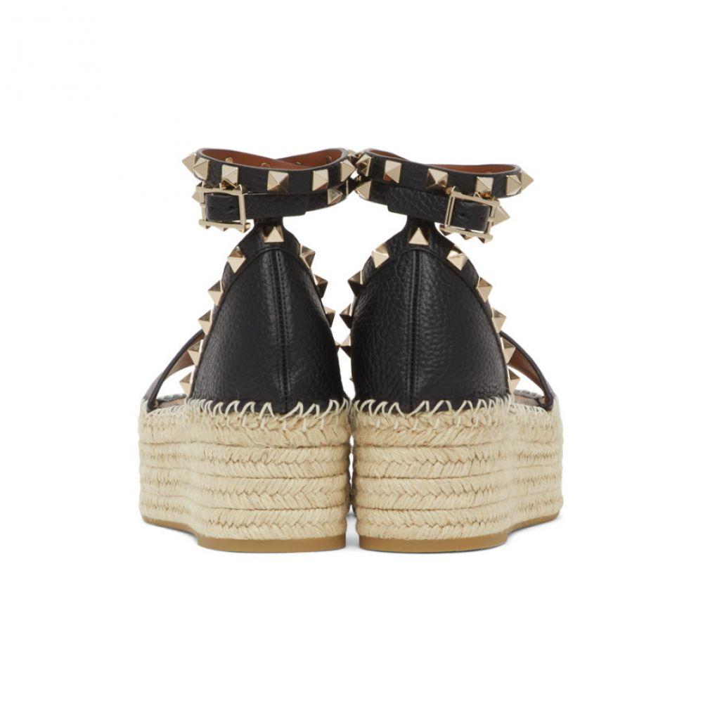 ヴァレンティノ Valentino レディース エスパドリーユ ウェッジソール シューズ・靴 Black Garavani Rockstud Double Wedge Espadrilles Blackm0v8OynNw