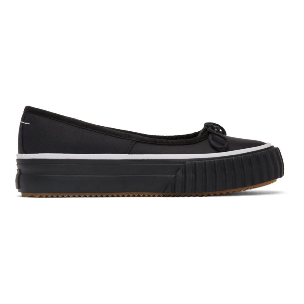 メゾン マルジェラ MM6 Maison Margiela レディース スリッポン・フラット シューズ・靴【Black Vulcanized Ballerina Flats】Black