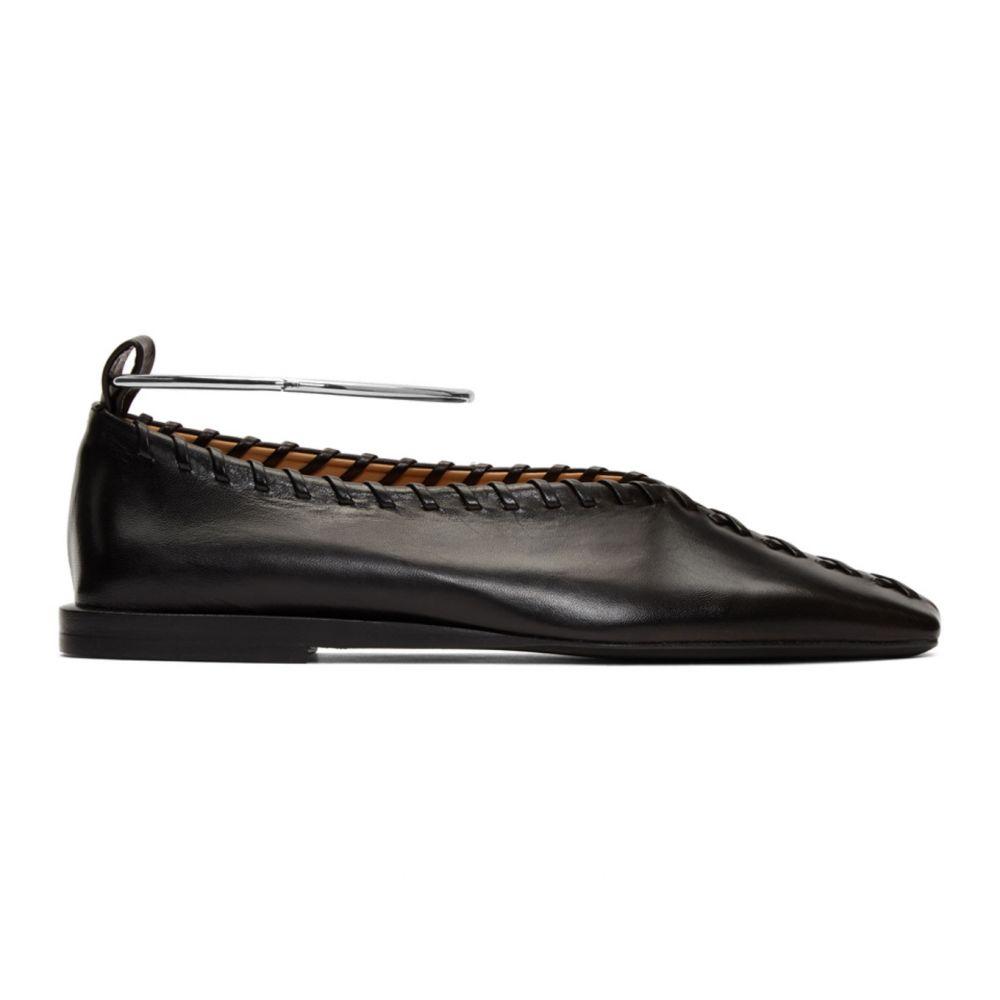 ジル サンダー Jil Sander レディース スリッポン・フラット シューズ・靴【Black Whipstitch Anklet Ballerina Flats】Black