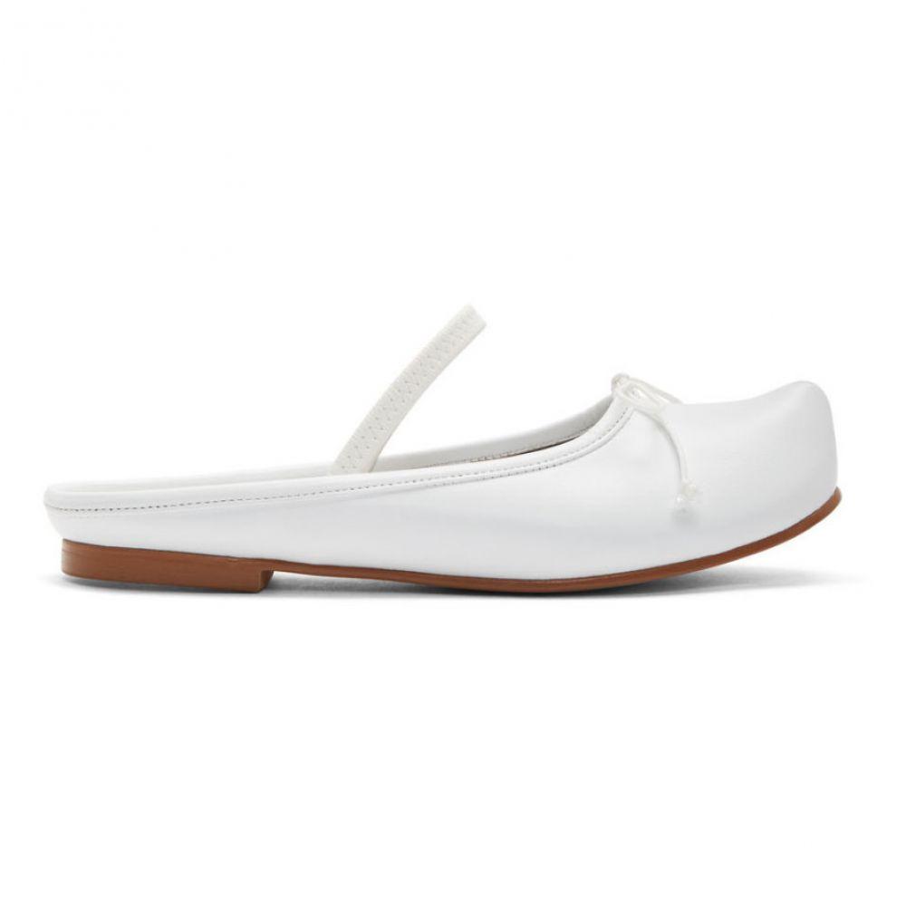 フラットアパートメント Flat Apartment レディース スリッポン・フラット シューズ・靴【White Pointed Toe Sabot Ballerina Flats】White