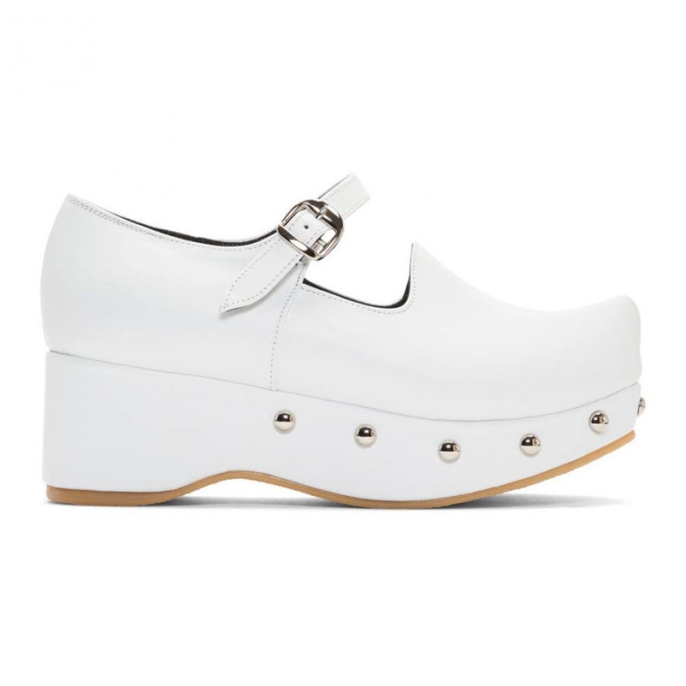 フラットアパートメント Flat Apartment レディース スリッポン・フラット シューズ・靴【White Pointed Toe Mary Jane Ballerina Flats】White