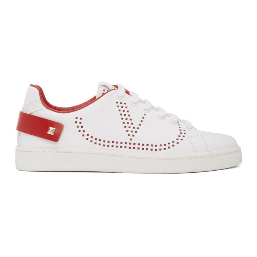 ヴァレンティノ Valentino レディース スニーカー シューズ・靴【White & Red Garavani VLogo Backnet Sneakers】White/Red
