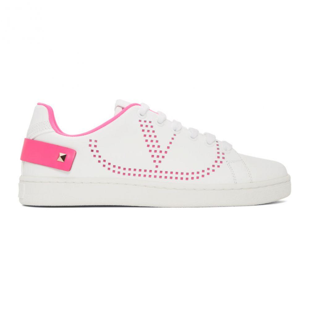 ヴァレンティノ Valentino レディース スニーカー シューズ・靴【White & Pink Garavani VLogo Backnet Sneakers】Pink